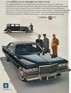 1975 Cadillac Sedan DeVille and 1933 Phaeton Sedan Advertisement