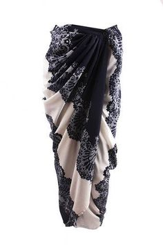 Especially for those who love the tie-knots of the sarong but the ease of the modern skirt. Kebaya Lace, Kebaya Dress, Batik Kebaya, Model Rok Kebaya, Model Kebaya Modern, Batik Fashion, Hijab Fashion, Fashion Dresses, Mode Batik
