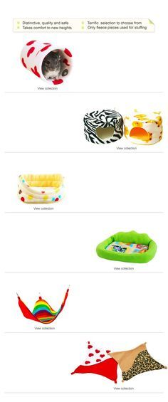 Fleece cage accessories for chinchillas and other small pets.