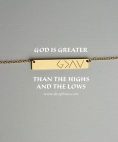 God is greater than the highs and the lows Personalized Bar Necklace gold bar necklace mom gift bridesmaid gifts silver rose gold I Look To You, Gold Bar Necklace, Arrow Necklace, Couture, Swagg, Bridesmaid Gifts, Gifts For Mom, In This World, Just In Case