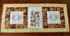 Embroidered and quilted table runner autumn by StephsQuilts