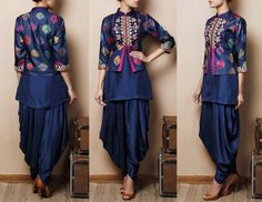 Blue Silk Kurti with Jodhpuris Citrine