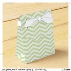 Light green, white chevron zigzag pattern wedding wedding favor box