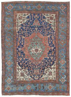 "Antique Heriz Rug ID: JF5904. Hand-knotted in Persian Circa 1930.  4'8"" x 6'3"".  $3,750 retail/ $3,000 net.  Rug is in Salem showroom- will be in Boston by Tuesday 5/24"
