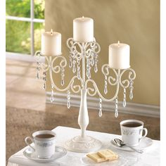 These would be perfect in black. i wonder if they are paitable? 20 Elegant Ivory Candleabra Metal and Acrylic WEDDING Home WHOLESALE LOT NEW