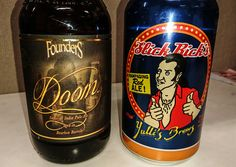 Two beers I bought today. It's been a while since I've had Doom.   1) Doom Imperial India Pale Ale, aged in bourbon barrels, 12.4%. Founders Brewery, Grand Rapids Michigan. This is a 2017 release, so it'll be interesting to see what it tastes like. It was bottled back in May.  2) Slick Rick's Rampaging Red Ale, 6.2%. Yullis Brews, Surry Hills, Sydney Australia. I have a mate who looks like the guy on the can - I even have a photo of him from the 80's dressed the same 😂. His name is Rick…