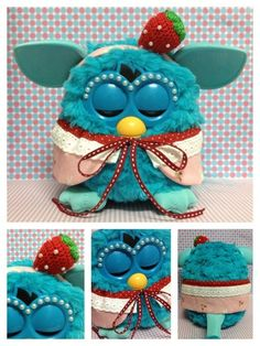 """crochet furby   Furby Outfit : """" Strawberry Lover Mini Set"""" (Dress and Crochet hat)"""