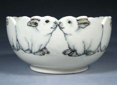 "I'm normally not looking for ""cute"" pottery, but how could you resist? Hand Painted Pottery with Animal and Dog Art by Nan Hamilton Boston MA Pottery Bowls, Ceramic Pottery, Pottery Art, Pottery Animals, Ceramic Animals, Hand Painted Pottery, Pottery Painting, Rabbit Art, Bunny Art"
