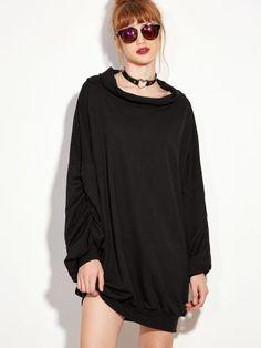 Black Lantern Sleeve Sweatshirt Dress