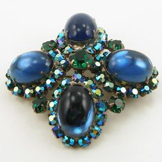 Vintage Unsigned Blue Domed Pin