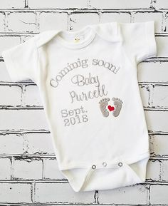 e5c550acd18 Pregnancy Reveal Pregnancy Announcement Embroidered Coming Soon Bodysuit  Personalized Pregnancy Announcement