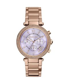 Parker Rose Golden Crystal Chronograph Watch, Rose Gold/Purple by Michael Kors at Neiman Marcus Last Call.