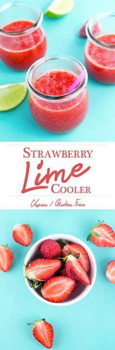 Strawberry Lime Cooler - a delicious, refreshing juice made of Apples, Strawberries and Fresh Lime. #juice #cooler #strawberry #lime #apple #coldpressed #juicer #healthy #refreshing #vegan #recipe #foodporn