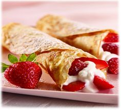 Crepes ! 1pkt Pancake Mix  ¼ cup + 3 tbsp Fat-Free Milk   Combine pancake mix and liquid and stir vigorously. Wait 5min, stirring occasionally. Spray shallow pan with non-fat cooking spray and preheat pan on low to medium heat. Remove pan from heat and pour just enough batter to thinly coat the pan, swirling pan to spread evenly. Cook until batter looks almost dry in the middle. Use rubber spatula to lift edges of crepes and turn crepe onto other side. Cook 30-60 seconds.