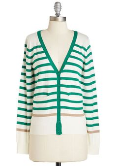 For the Win Cardigan in Green Stripes, @ModCloth