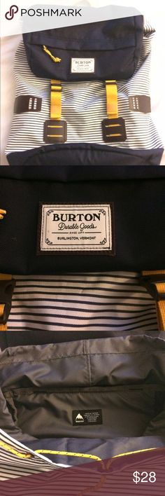 Brand new never used Burton Backpack Durable canvas and cotton, this pack features a pocket on front and two inside including a media/tech safety pouch. Burton Bags Backpacks