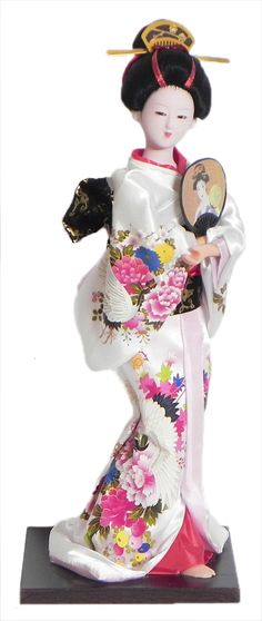 Japanese Geisha Doll in Printed White Kimono Dress Holding Fan (Cloth, Clay, Plastic and Thermocol)