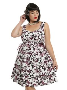 White & Burgundy Floral Side Lace-Up Asymmetrical Hem Dress Plus Size, FLORAL - HotTopic
