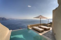 Amazing views and private pool at our private suite. Relaxing, crispy beige tones against the velvet blue of the Aegean