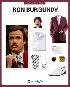 Dress like Ron Burgundy from Anchorman. Get cosplay inspiration and and costume ideas from Will Ferrell's hilarious character.