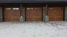 cedar accent finish with madison glass design. CHI. Garage Doors