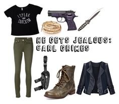 """""""He Gets Jealous: Carl Grimes"""" by mcglitterpawz ❤ liked on Polyvore featuring art"""