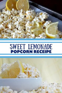 Light, sweet and delicious Sweet Lemonade Popcorn Recipe that is SO quick and easy to make. Perfect spring recipe that will have you in the mood for sunshine. Kids and adults alike will love this recipe!