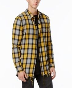 Jaywalker Men's Raw Edge Zip-Back Plaid Flannel Shirt, Only at Macy's - Yellow