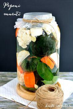 Pepeni muraţi Veggie Recipes, Veggie Food, Romanian Food, Pantry, Mason Jars, Veggies, Table Decorations, Canning, Salads