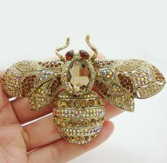Vintage Retro Bee Insect Gold-plated Brooch Pin Brown Crystal Rhinestone #Unbranded