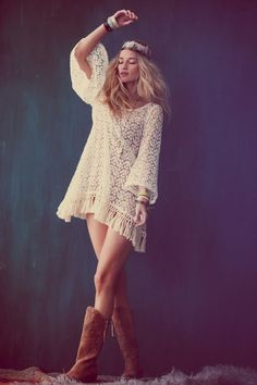 Sexy boho chic crochet tunic top