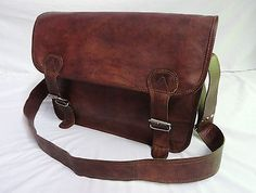 """18x13"""" large real brown #leather #satchel laptop macbook #crossbody messenger bag,  View more on the LINK: http://www.zeppy.io/product/gb/2/272393706651/"""