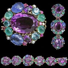 Dorrie Nossiter. Arts and Crafts bracelet.  Silver, gold, amethyst, sapphire, ruby, aquamarine, tourmaline and pearl, c. 1930. H: 3.4 cm (1.34 in), W: 19 cm (7.48 in).