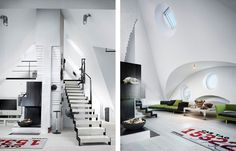Step Forming Chimney And Modern Living Space