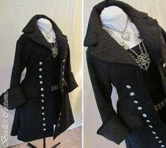 Women's Black Suede Pirate Coat - Brielle's Costume Wardrobe