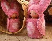 Easter Bunny, Waldorf bunnies, Mama & daughter peg dolls, Honey Bunny Gnome, Rabbit, Spring, pink, white, gift for girl