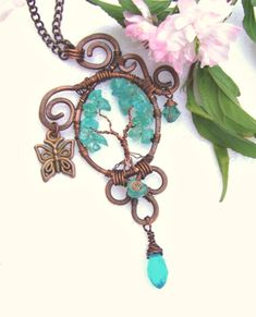 Tree Of Life Necklace Apatite Stones Tree Of Life by JNTCreations, $42.00