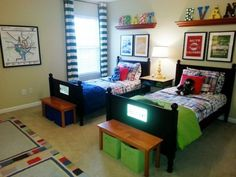 Boys Love Color in New Rental Home, Shared bedroom for my 5 & 6 year old sons. Boys Love Color in New Rental Home, Shared bedroom for my 5 & 6 year old sons. Trying to create a n Small Boys Bedrooms, Shared Boys Rooms, Kids Bedroom Boys, Shared Bedrooms, Boys Bedroom Decor, Small Room Bedroom, Boy Room, Bedroom Furniture, Small Rooms