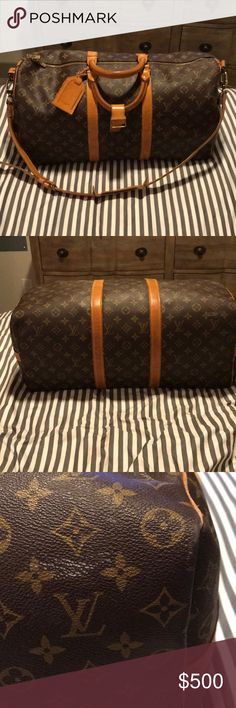 Louis Vuitton Monogram keepall Bandouliere 50 Used with water marks as well as right side buckle unattached still fully useable and great for a carry on!!! Louis Vuitton Bags Travel Bags