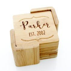 Custom Wooden Coasters Set. #custom-personalized #date #drink-coasters