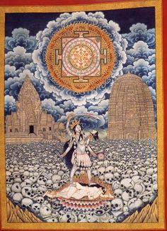 Danielwamba KALI Goddess t Goddesses Tantra and Kali Yantra, Shiva Shakti, Ancient Goddesses, Gods And Goddesses, Om Namah Shivaya, Tantra Art, Thangka Painting, Kali Goddess, Hindu Deities
