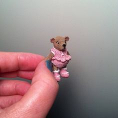 Tiny Elspeth Doll, Crocheted Artist Bear of Thread, Micro Miniature Dollhouse Size