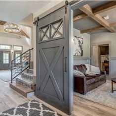 Spectacular interior barn doors sliding - take a peek at our guide for a whole lot more tips! Br House, Barn Door In House, Pole Barn House Plans, Pole Barn Homes, House Doors, Tiny House, Room Deco, Barn Door Designs, The Doors
