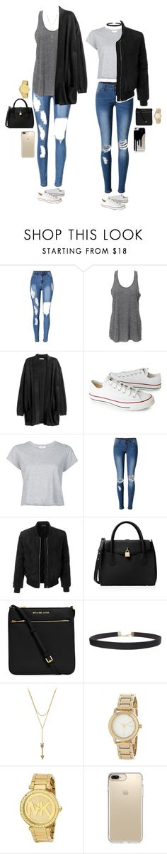 """""""Untitled #2596"""" by anisaortiz ❤ liked on Polyvore featuring Converse, RE/DONE, WithChic, LE3NO, MICHAEL Michael Kors, Humble Chic, Rebecca Minkoff, DKNY, Michael Kors and Speck"""