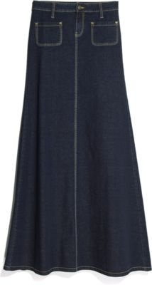 Long denim skirt (but with patch pockets on the back instead of the front).