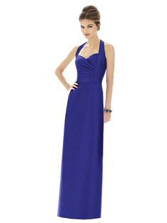 Full length peau de soie halter dress w/  slim skirt. Matching belt. Dress also available cocktail length as style D606. Sizes available: 00-30W, and 00-30W extra length.  http://www.dessy.com/dresses/bridesmaid/D607/