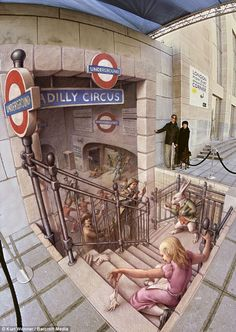 A three-dimensional street painting called The Belgian Underground photographed in Brussels, Belgium by US street artist Kurt Wenner