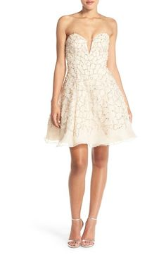 Terani Couture Strapless Embellished Fit & Flare Dress