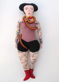 Tattooed Lady doll- Snake Charmer by mimi kirchner