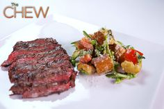 Michael Symon's Grilled Skirt Steak with Asparagus and Pea Panzanella Salad #TheChew